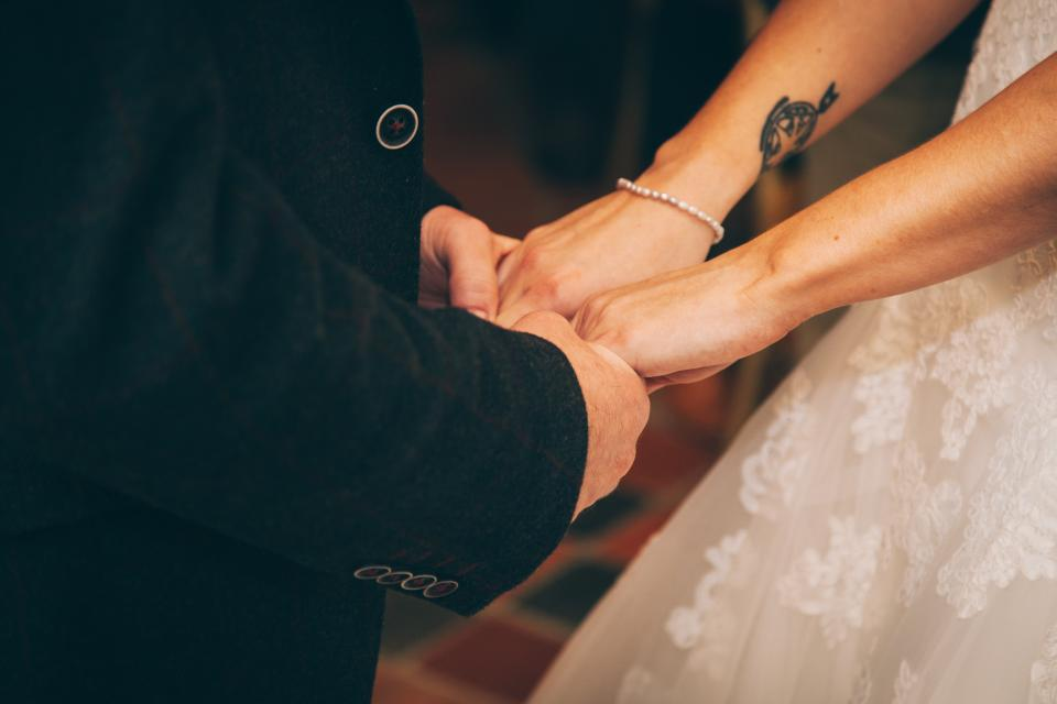 wedding ceremony hands photo