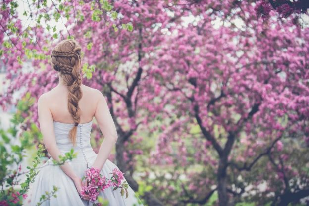 cherry blossom bride photo